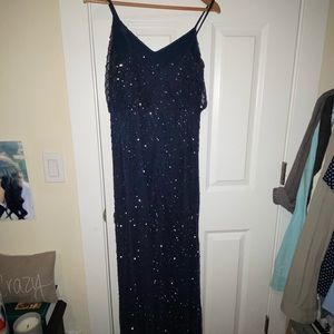 Adrianna Papell navy blouson dress w/beads 10P